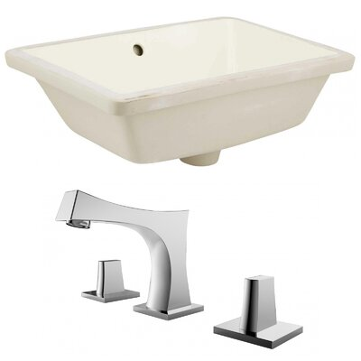 Ceramic Rectangular Undermount Bathroom Sink with Faucet and Overflow Sink Finish: Biscuit
