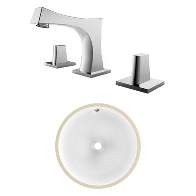 CSA Ceramic Circular Undermount Bathroom Sink with Faucet and Overflow