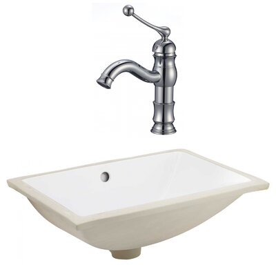 CSA Ceramic Rectangular Undermount Bathroom Sink with Faucet and Overflow