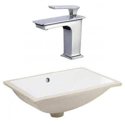 Ceramic Rectangular Undermount Bathroom Sink with Faucet and Overflow