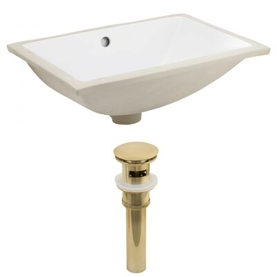 CUPC Ceramic Rectangular Undermount Bathroom Sink with Overflow Drain Finish: Gold