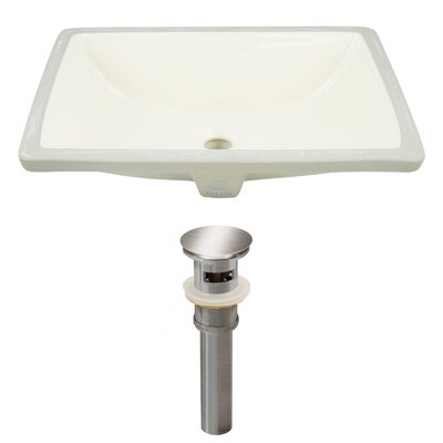Ceramic Rectangular Undermount Bathroom Sink with Overflow Drain Finish: Brushed Nickel