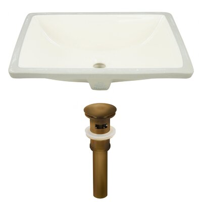 CUPC Ceramic Rectangular Undermount Bathroom Sink with Overflow Drain Finish: Antique Brass