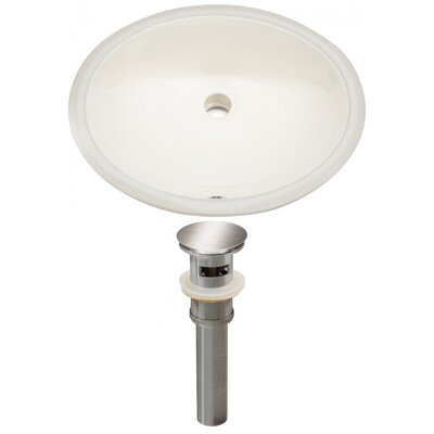 CUPC Ceramic Oval Undermount Bathroom Sink with Overflow Drain Finish: Brushed Nickel