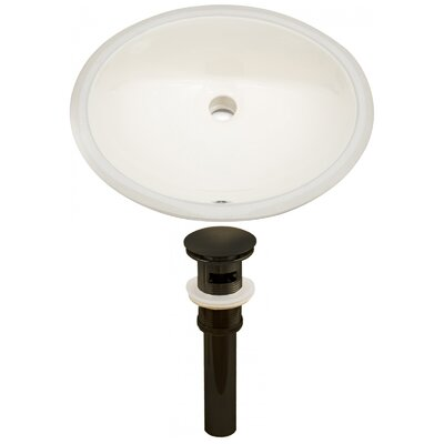CUPC Ceramic Oval Undermount Bathroom Sink with Overflow Drain Finish: Oil Rubbed Bronze