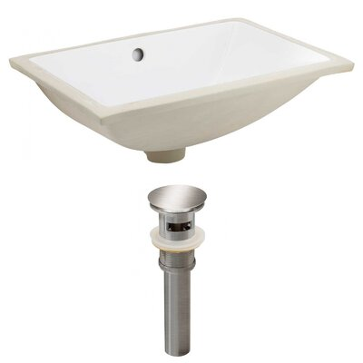 CUPC Ceramic Rectangular Undermount Bathroom Sink with Overflow Drain Finish: Brushed Nickel