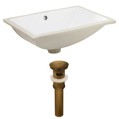 CSA Ceramic Rectangular Undermount Bathroom Sink with Overflow Drain Finish: Antique Brass