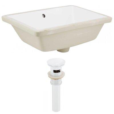 Ceramic Rectangular Undermount Bathroom Sink with Overflow Sink Finish: White, Drain Finish: White