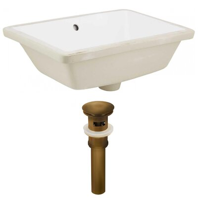 Ceramic Rectangular Undermount Bathroom Sink with Overflow Drain Finish: Antique Brass