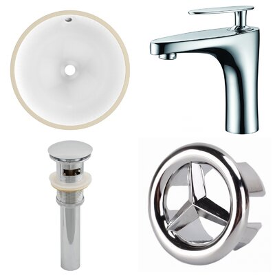 CUPC Ceramic Circular Undermount Bathroom Sink with Faucet and Overflow