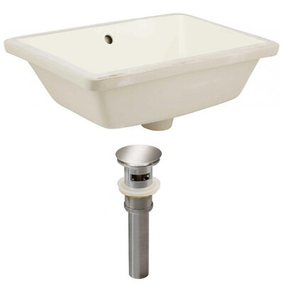 Ceramic Rectangular Undermount Bathroom Sink with Overflow Sink Finish: Biscuit, Drain Finish: Brushed Nickel