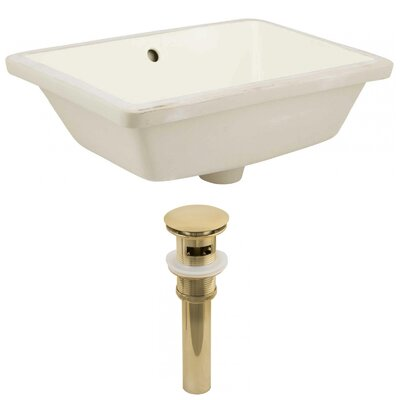 Ceramic Rectangular Undermount Bathroom Sink with Overflow Sink Finish: Biscuit, Drain Finish: Gold