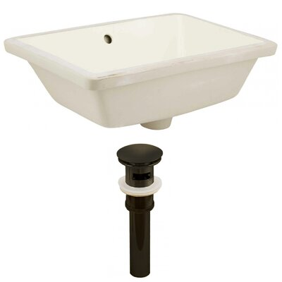 Ceramic Rectangular Undermount Bathroom Sink with Overflow Sink Finish: Biscuit, Drain Finish: Oil Rubbed Bronze