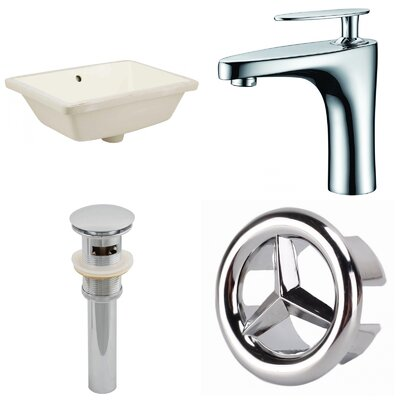 CUPC Ceramic Rectangular Undermount Bathroom Sink with Faucet and Overflow