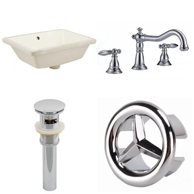 CUPC Ceramic Rectangular Undermount Bathroom Sink with Faucet and Overflow Sink Finish: Biscuit