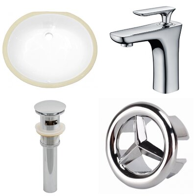 CUPC Ceramic Oval Undermount Bathroom Sink with Faucet and Overflow Sink Finish: White