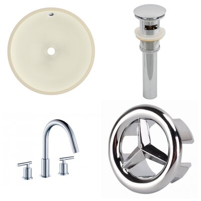 CUPC Ceramic Circular Undermount Bathroom Sink with Faucet and Overflow Sink Finish: Biscuit, Size: 15.50 H x 15.50 W x 10.43 D