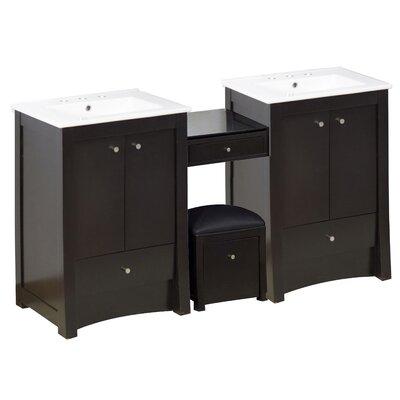 Vangundy 85Double Bathroom Vanity Set Faucet Mount: 8 Centers