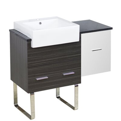 Xena Farmhouse Modern 37 Single Bathroom Vanity Base Base Finish: White/Dawn Gray