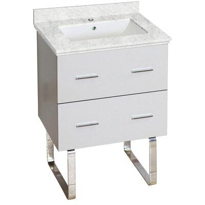 Hinerman 24 Single Bathroom Vanity Set Top Finish: Bianca Carrara, Sink Finish: White, Faucet Mount: Single Hole