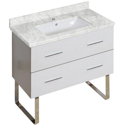 Xena Modern 35 Single Bathroom Vanity Base Base Finish: White