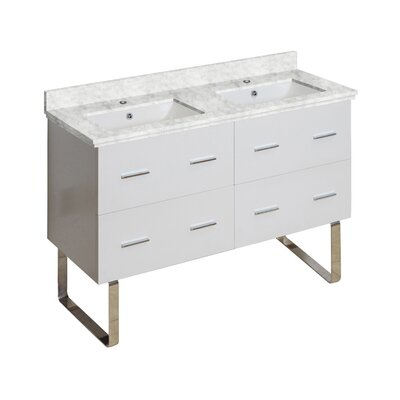Hinerman 48 Double Bathroom Vanity Set Base/Top Finish: White/Bianca Carrara, Sink Finish: White, Faucet Mount: Single Hole