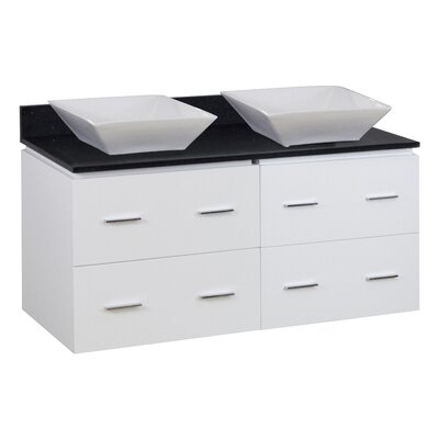 Dunamuggy 48 Wall-Mounted Double Bathroom Vanity Set
