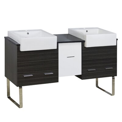 Hindman 60 Double Bathroom Vanity Set Base Finish: White/Dawn Gray, Faucet Mount: Single Hole