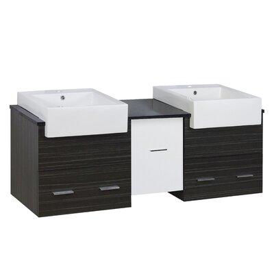 Hindman 60 Wall-Mounted Double Bathroom Vanity Set Faucet Mount: Single Hole