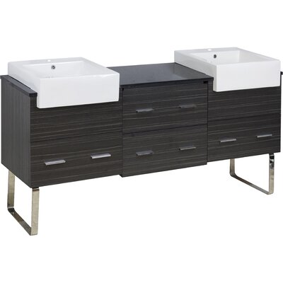 Basey 74 Double Bathroom Vanity Set Base Finish: Dawn Gray, Faucet Mount: Single