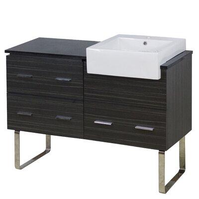 Hindman 49 Single Bathroom Vanity Set Faucet Mount: Single Hole, Base Finish: Dawn Gray