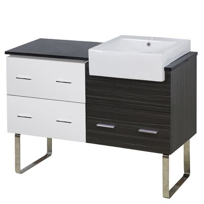 Xena Farmhouse Modern 46 Single Bathroom Vanity Base Base Finish: White/Dawn Gray