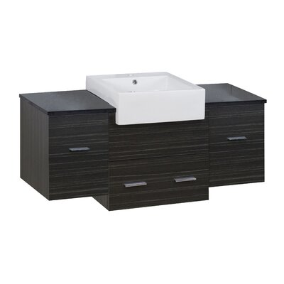 Hindman 51 Wall-Mounted Single Bathroom Vanity Set Base Finish: Dawn Gray, Faucet Mount: Single Hole