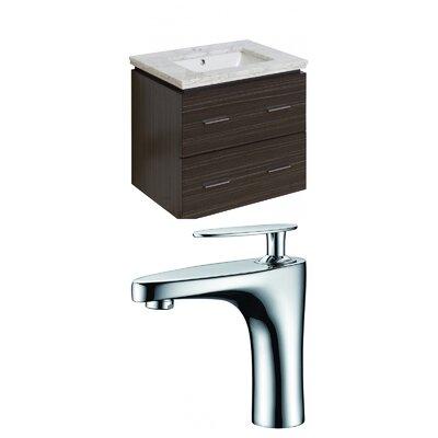 Hinerman 24 Wall-Mounted Single Bathroom Vanity Set Sink Finish: Biscuit, Top Finish: Bianca Carrara