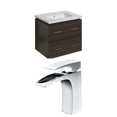Hinerman 24 Wall-Mounted Single Bathroom Vanity Set Sink Finish: White, Top Finish: Beige