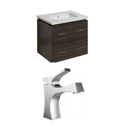 Hinerman 24 Wall-Mounted Single Bathroom Vanity Set Sink Finish: White, Top Finish: Bianca Carrara