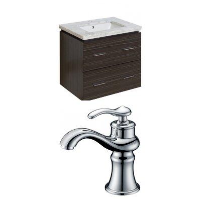 Hinerman 24 Wall-Mounted Single Bathroom Vanity Set Sink Finish: White, Top Finish: Bianca Carrara