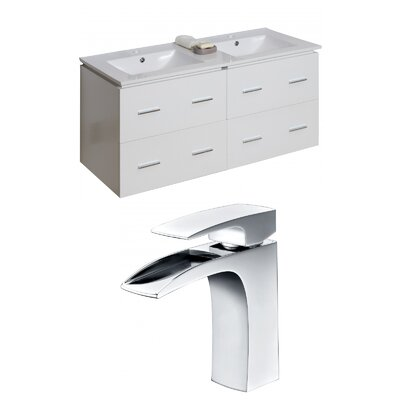 Hinerman 48 Wall-Mounted Double Bathroom Vanity Set