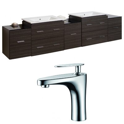 Hinerman 90 Wall-Mounted Double Bathroom Vanity Set