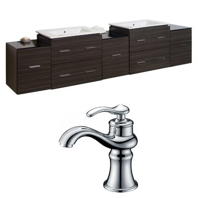 Hinerman 90 Wall-Mounted Double Bathroom Vanity Set