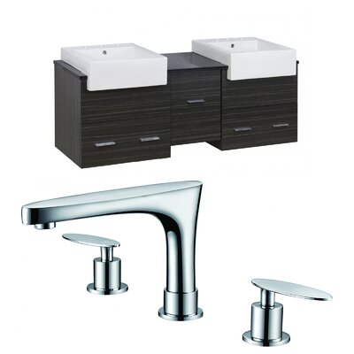 Hindman 60 Wall-Mounted Double Bathroom Vanity Set