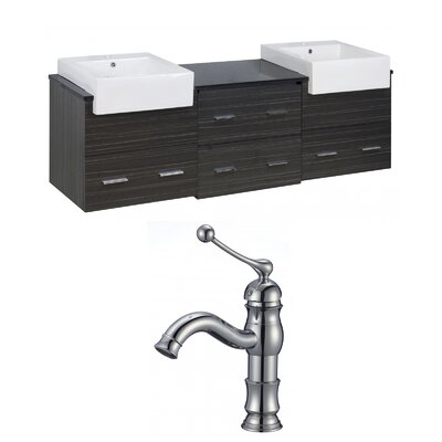 Hindman 74 Wall-Mounted Double Bathroom Vanity Set