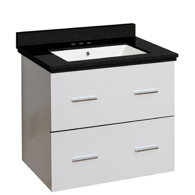 Hinerman 24 Wall-Mounted Single Bathroom Vanity Set Top Finish: Black Galaxy, Sink Finish: White, Faucet Mount: 4 Centers