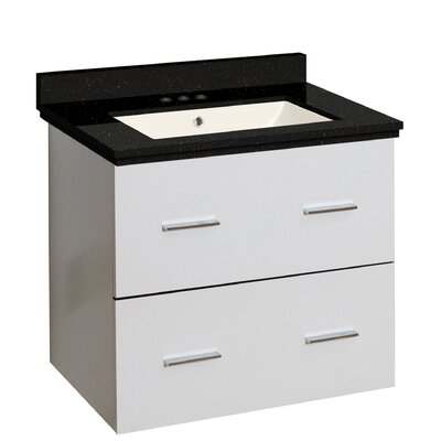 Hinerman 24 Wall-Mounted Single Bathroom Vanity Set Top Finish: Black Galaxy, Sink Finish: Biscuit, Faucet Mount: 4 Centers