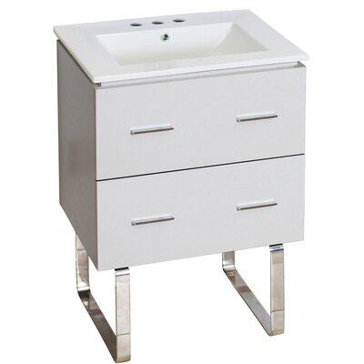Hinerman 24 Single Bathroom Vanity Set Faucet Mount: 8 Centers