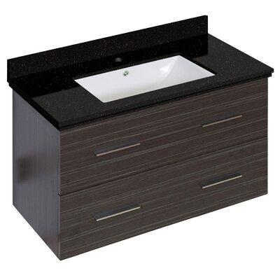 Hinerman 36 Wall-Mounted Single Bathroom Vanity Set Top Finish: Black Galaxy, Sink Finish: White, Faucet Mount: Single Hole