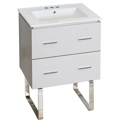 Hinerman 24 Single Bathroom Vanity Set Faucet Mount: 4 Centers