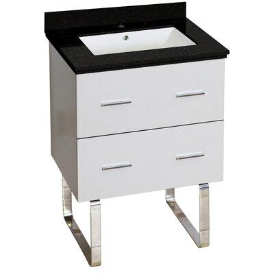Hinerman 24 Single Bathroom Vanity Set Top Finish: Black Galaxy, Sink Finish: White, Faucet Mount: Single Hole