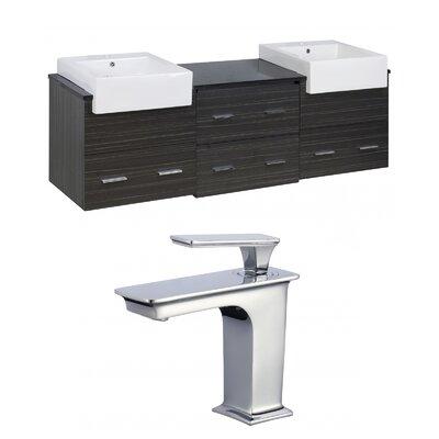 Hindman 74 Wall-Mounted Double Bathroom Vanity Set