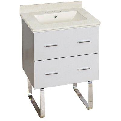 Hinerman 24 Single Bathroom Vanity Set Top Finish: Beige, Sink Finish: Biscuit, Faucet Mount: 8 Centers